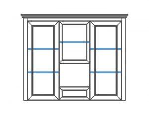 Витрина стекло 3ds1sz прямые дверцы